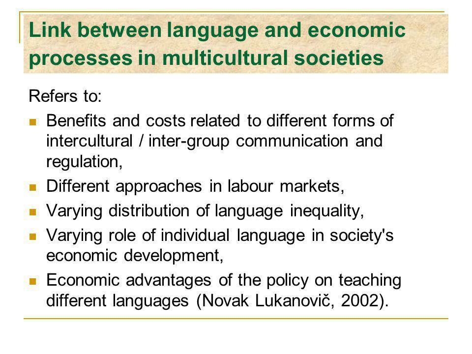 Link between language and economic processes in multicultural societies Refers to: Benefits and costs related to different forms of intercultural / inter-group communication and regulation, Different approaches in labour markets, Varying distribution of language inequality, Varying role of individual language in society s economic development, Economic advantages of the policy on teaching different languages (Novak Lukanovič, 2002).