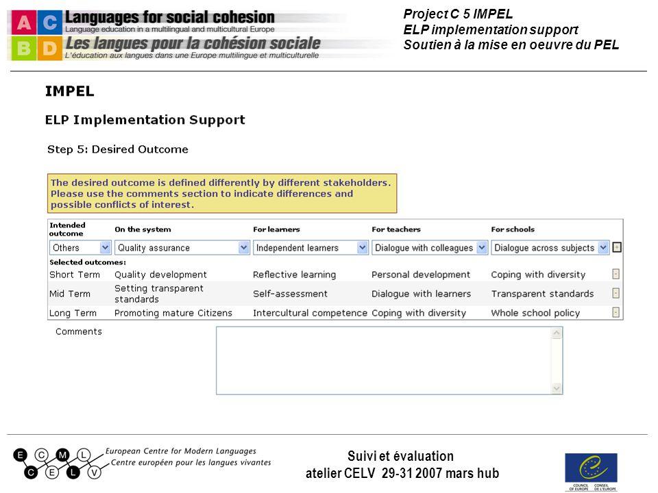 Project C 5 IMPEL ELP implementation support Soutien à la mise en oeuvre du PEL Suivi et évaluation atelier CELV 29-31 2007 mars hub