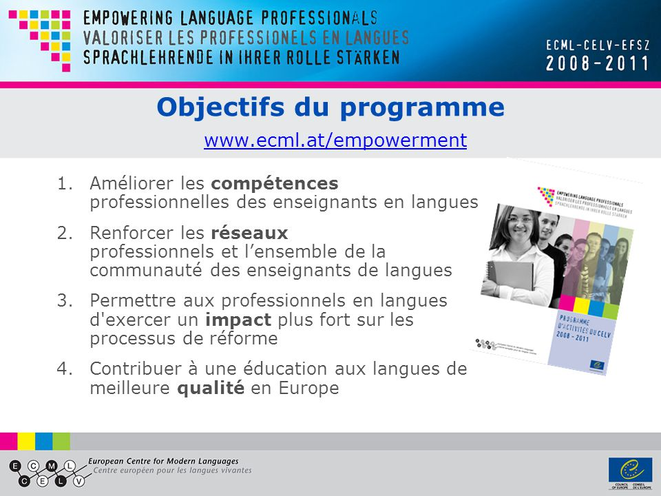 Objectifs du programme www.ecml.at/empowerment www.ecml.at/empowerment 1.Améliorer les compétences professionnelles des enseignants en langues 2.Renfo