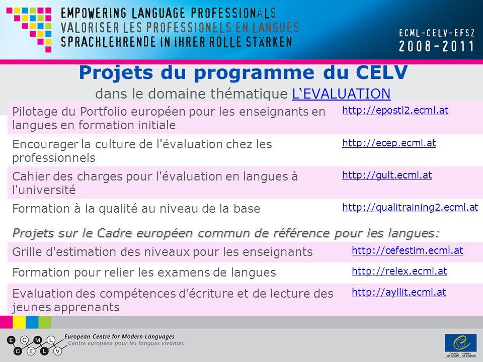 Projets du programme du CELV dans le domaine thématique LEVALUATIONLEVALUATION Pilotage du Portfolio européen pour les enseignants en langues en formation initiale http://epostl2.ecml.at Encourager la culture de l évaluation chez les professionnels http://ecep.ecml.at Cahier des charges pour l évaluation en langues à l université http://gult.ecml.at Formation à la qualité au niveau de la base http://qualitraining2.ecml.at Projets sur le Cadre européen commun de référence pour les langues: Grille d estimation des niveaux pour les enseignants http://cefestim.ecml.at Formation pour relier les examens de langues http://relex.ecml.at Evaluation des compétences d écriture et de lecture des jeunes apprenants http://ayllit.ecml.at