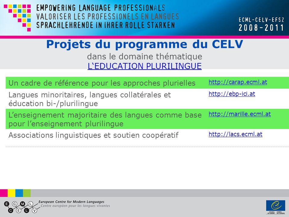 Projets du programme du CELV dans le domaine thématique LEDUCATION PLURILINGUE LEDUCATION PLURILINGUE Un cadre de référence pour les approches plurielles http://carap.ecml.at Langues minoritaires, langues collatérales et éducation bi-/plurilingue http://ebp-ici.at Lenseignement majoritaire des langues comme base pour lenseignement plurilingue http://marille.ecml.at Associations linguistiques et soutien coopératif http://lacs.ecml.at