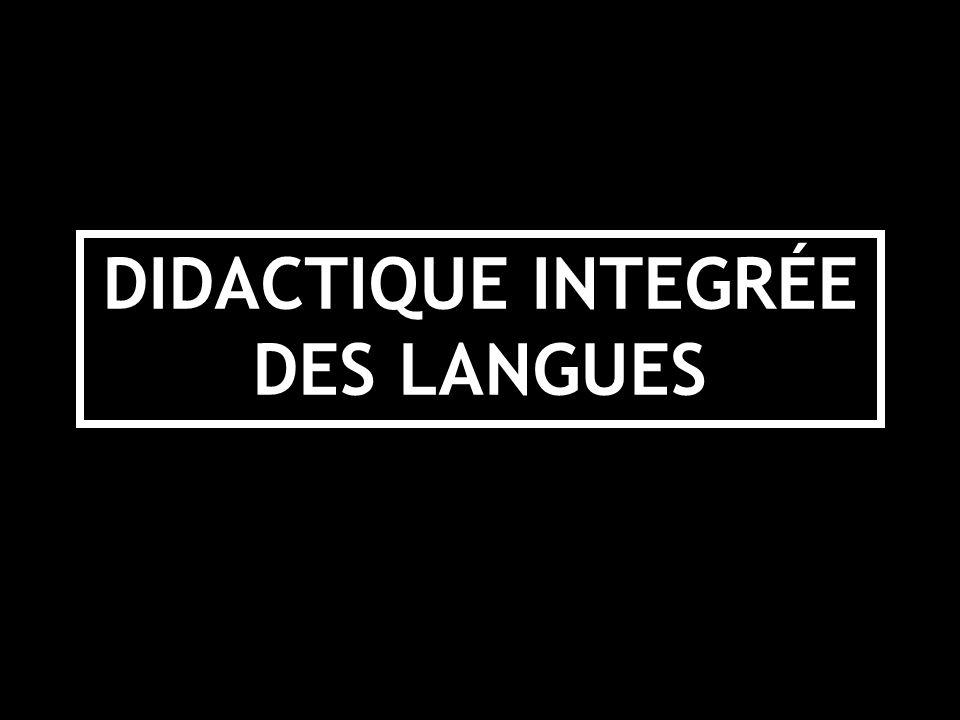 DIDACTIQUE INTEGRÉE DES LANGUES