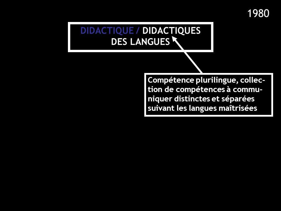 DIDACTIQUE / DIDACTIQUES DES LANGUES Compétence plurilingue, collec- tion de compétences à commu- niquer distinctes et séparées suivant les langues ma