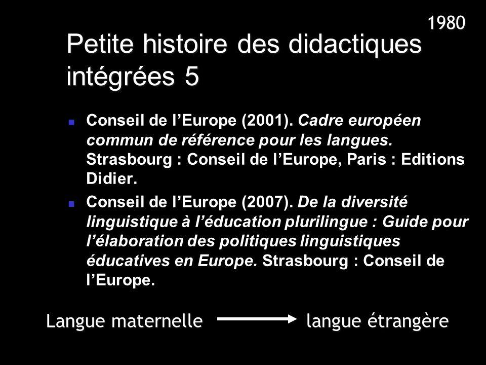 Petite histoire des didactiques intégrées 5 Conseil de lEurope (2001). Cadre européen commun de référence pour les langues. Strasbourg : Conseil de lE
