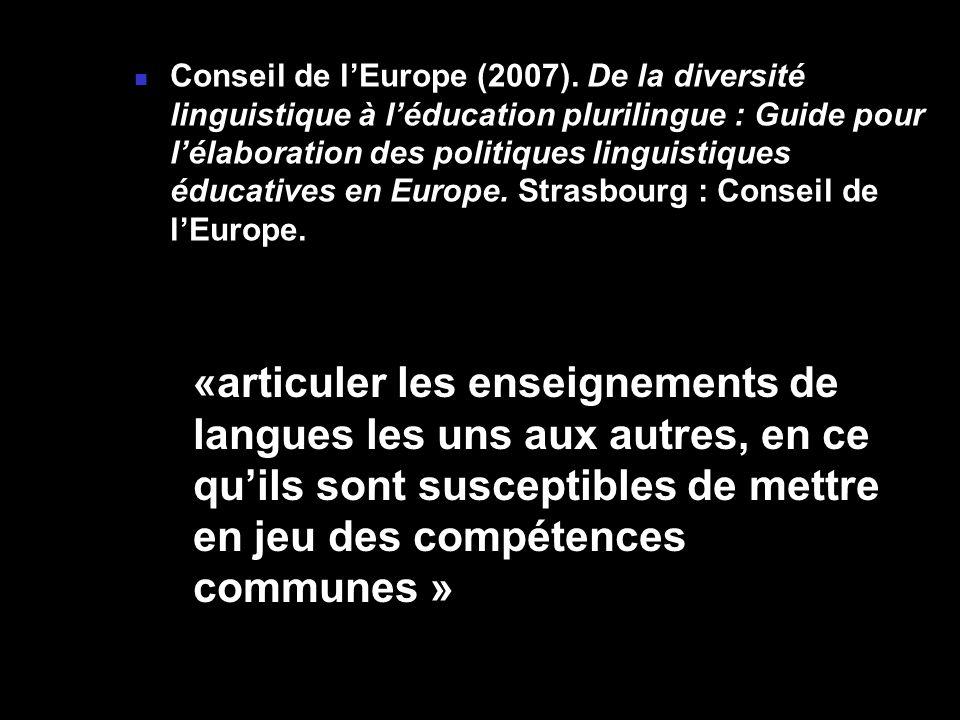 Conseil de lEurope (2007). De la diversité linguistique à léducation plurilingue : Guide pour lélaboration des politiques linguistiques éducatives en