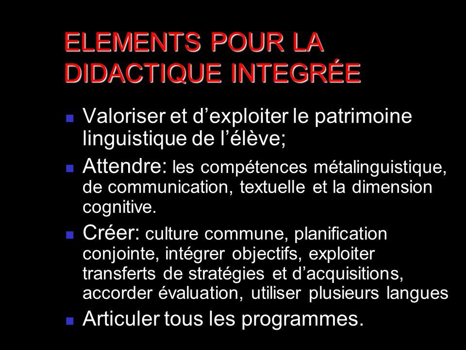 Valoriser et dexploiter le patrimoine linguistique de lélève; Attendre: les compétences métalinguistique, de communication, textuelle et la dimension