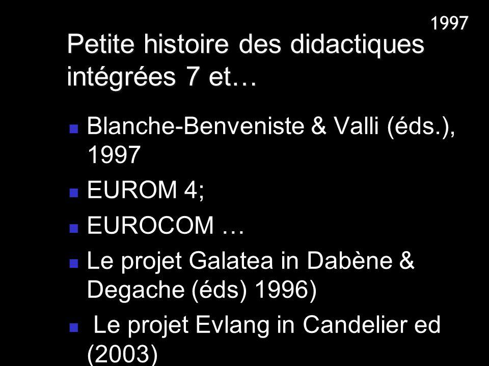 Blanche-Benveniste & Valli (éds.), 1997 EUROM 4; EUROCOM … Le projet Galatea in Dabène & Degache (éds) 1996) Le projet Evlang in Candelier ed (2003) P