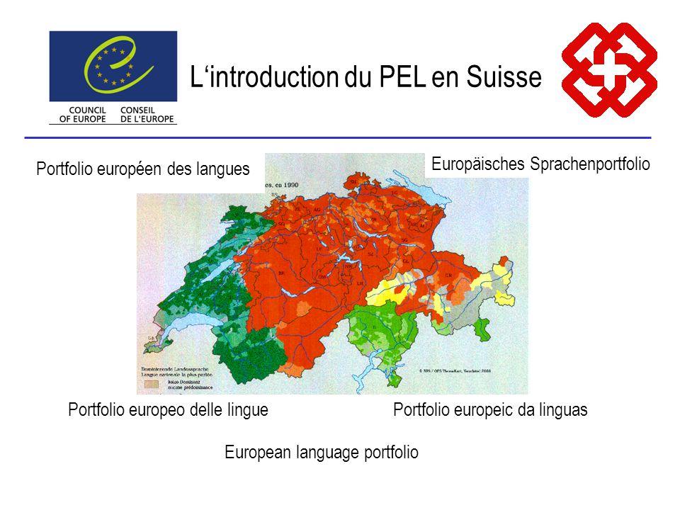 Portfolio europeo delle linguePortfolio europeic da linguas Europäisches Sprachenportfolio Portfolio européen des langues European language portfolio Lintroduction du PEL en Suisse