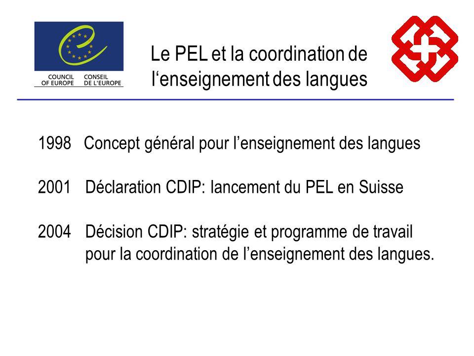 Le PEL et la coordination de lenseignement des langues 1998 Concept général pour lenseignement des langues 2001Déclaration CDIP: lancement du PEL en Suisse 2004Décision CDIP: stratégie et programme de travail pour la coordination de lenseignement des langues.