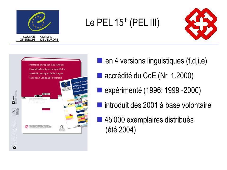 en 4 versions linguistiques (f,d,i,e) accrédité du CoE (Nr.