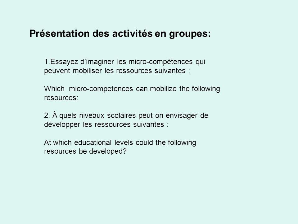 Présentation des activités en groupes: 1.Essayez dimaginer les micro-compétences qui peuvent mobiliser les ressources suivantes : Which micro-competen