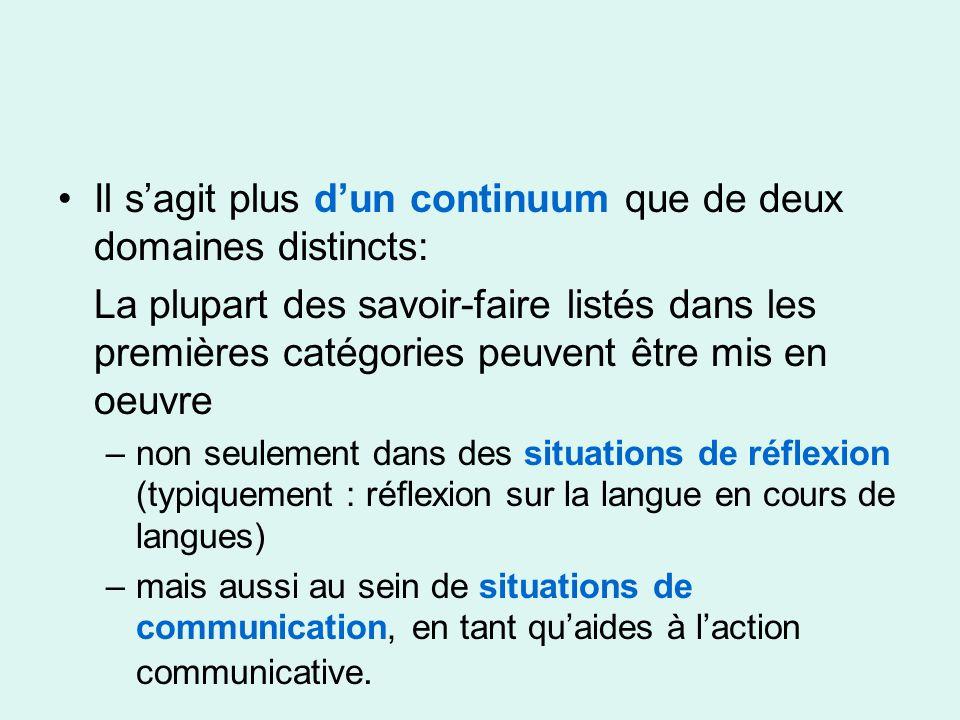 Il sagit plus dun continuum que de deux domaines distincts: La plupart des savoir-faire listés dans les premières catégories peuvent être mis en oeuvre –non seulement dans des situations de réflexion (typiquement : réflexion sur la langue en cours de langues) –mais aussi au sein de situations de communication, en tant quaides à laction communicative.