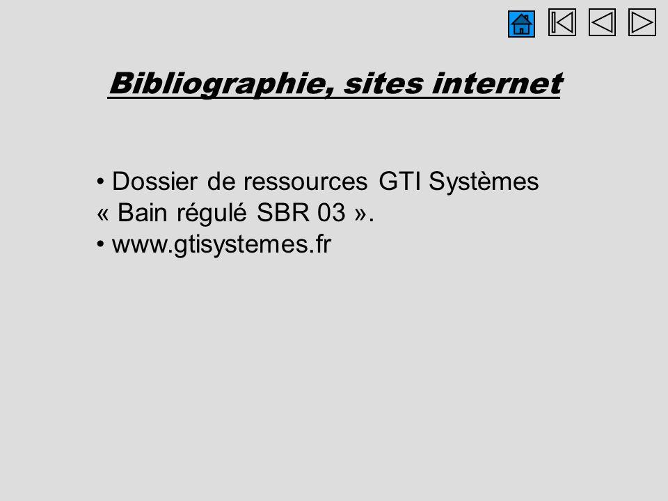 Bibliographie, sites internet Dossier de ressources GTI Systèmes « Bain régulé SBR 03 ». www.gtisystemes.fr