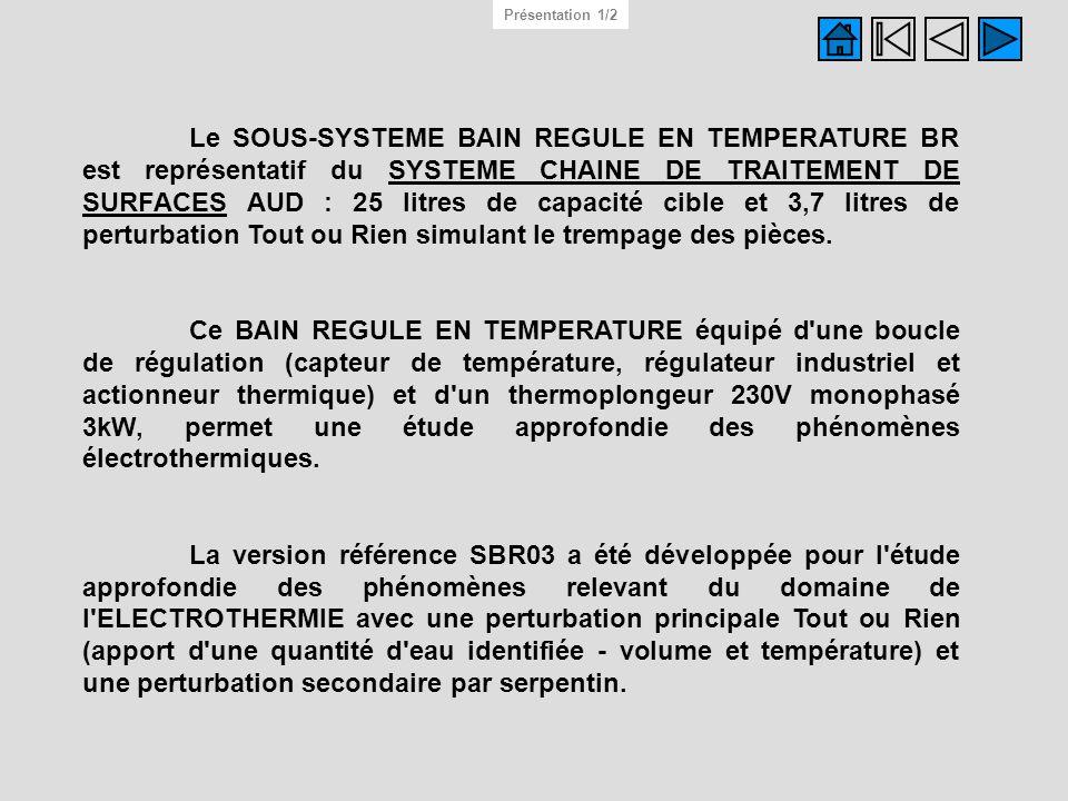 Le SOUS-SYSTEME BAIN REGULE EN TEMPERATURE BR est représentatif du SYSTEME CHAINE DE TRAITEMENT DE SURFACES AUD : 25 litres de capacité cible et 3,7 l
