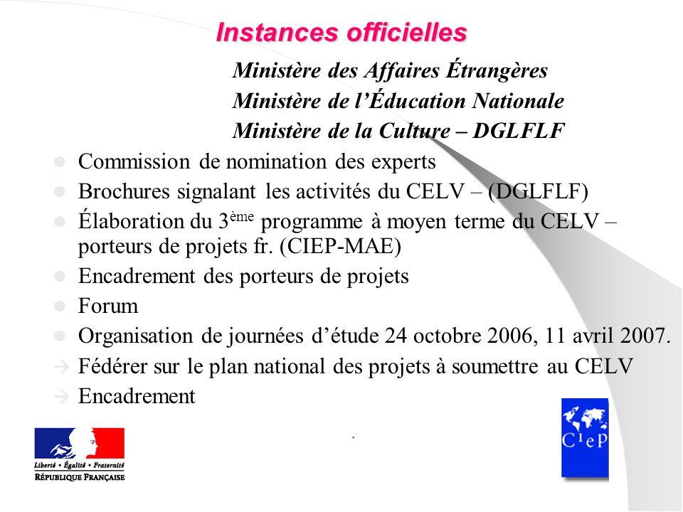 Instances officielles Ministère des Affaires Étrangères Ministère de lÉducation Nationale Ministère de la Culture – DGLFLF Commission de nomination de
