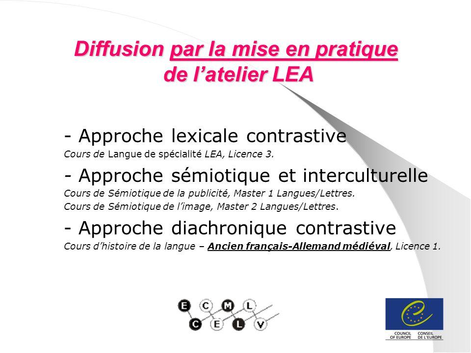 Diffusion par la mise en pratique de latelier LEA - Approche lexicale contrastive Cours de Langue de spécialité LEA, Licence 3. - Approche sémiotique