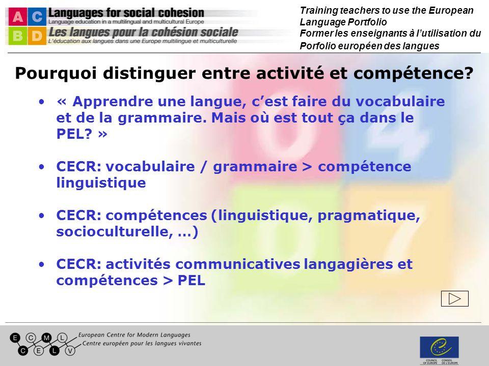 Training teachers to use the European Language Portfolio Former les enseignants à lutilisation du Porfolio européen des langues Pourquoi distinguer entre activité et compétence.