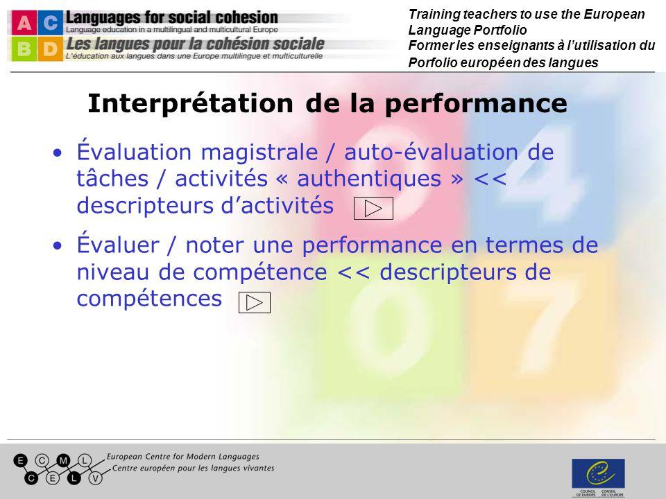 Training teachers to use the European Language Portfolio Former les enseignants à lutilisation du Porfolio européen des langues Interprétation de la performance Évaluation magistrale / auto-évaluation de tâches / activités « authentiques » << descripteurs dactivités Évaluer / noter une performance en termes de niveau de compétence << descripteurs de compétences
