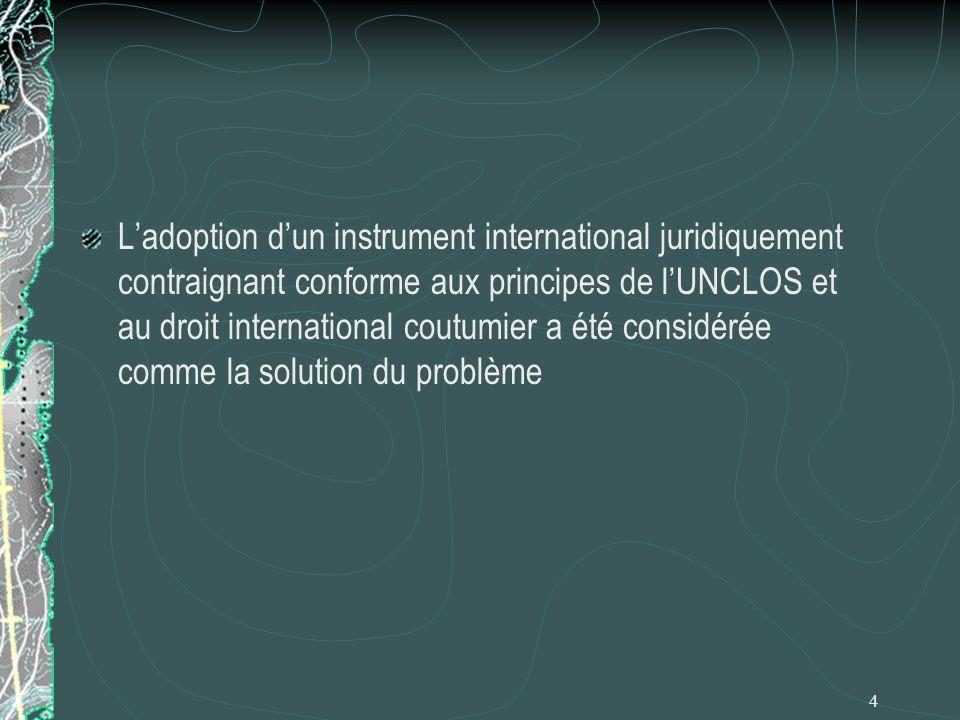 4 Ladoption dun instrument international juridiquement contraignant conforme aux principes de lUNCLOS et au droit international coutumier a été consid