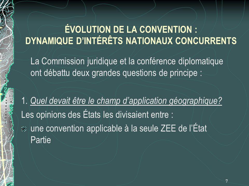 7 ÉVOLUTION DE LA CONVENTION : DYNAMIQUE DINTÉRÊTS NATIONAUX CONCURRENTS La Commission juridique et la conférence diplomatique ont débattu deux grande