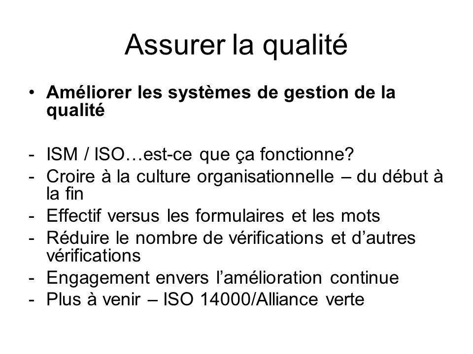 Assurer la qualité Améliorer les systèmes de gestion de la qualité -ISM / ISO…est-ce que ça fonctionne.