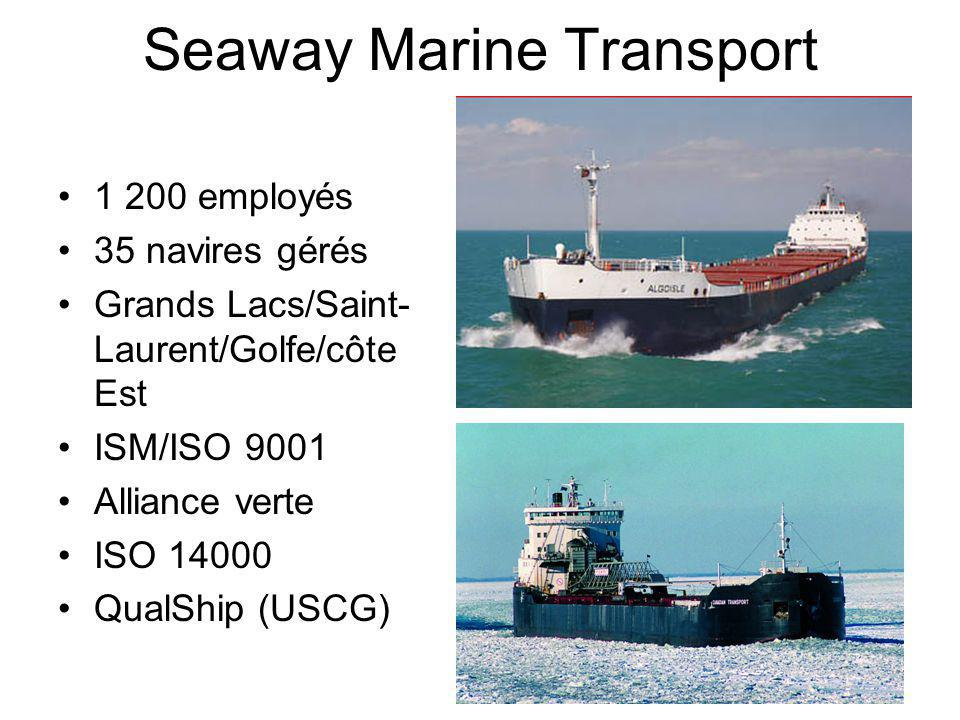1 200 employés 35 navires gérés Grands Lacs/Saint- Laurent/Golfe/côte Est ISM/ISO 9001 Alliance verte ISO 14000 QualShip (USCG)
