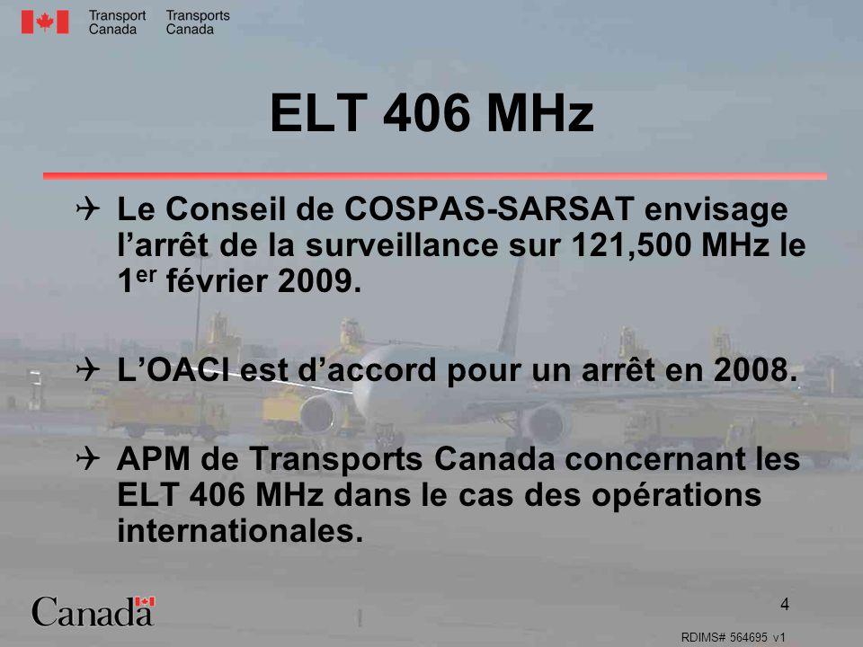 RDIMS# 564695 v1 4 ELT 406 MHz Le Conseil de COSPAS-SARSAT envisage larrêt de la surveillance sur 121,500 MHz le 1 er février 2009. LOACI est daccord