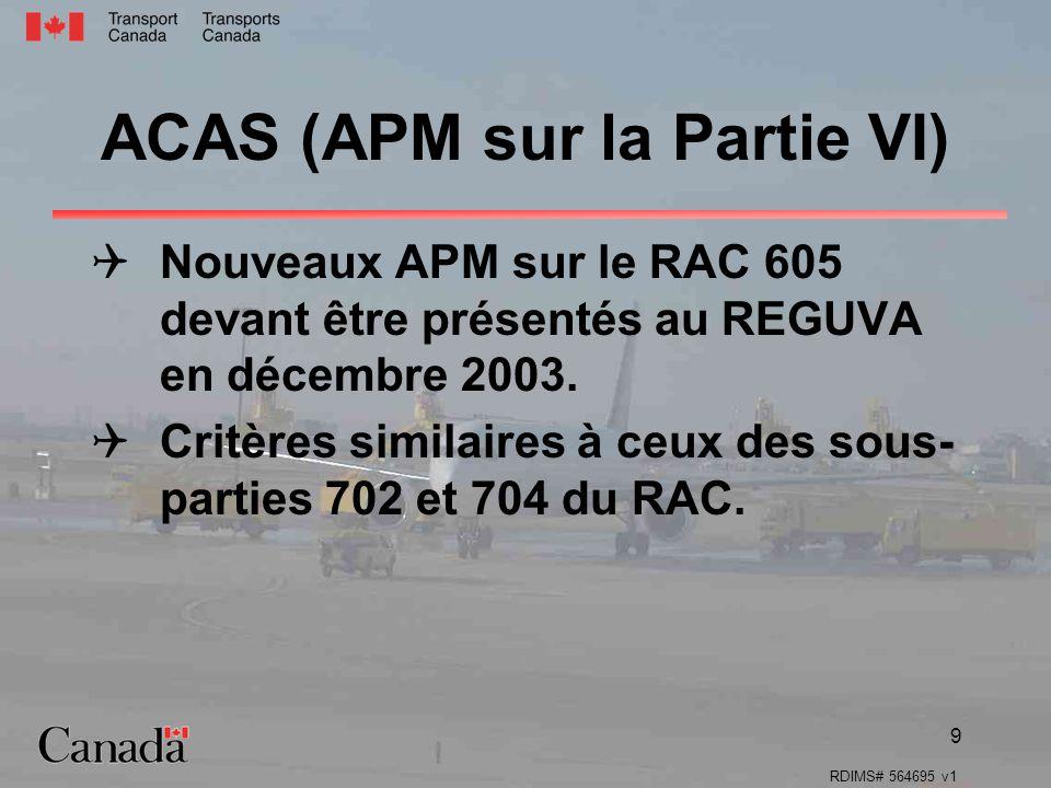 RDIMS# 564695 v1 9 ACAS (APM sur la Partie VI) Nouveaux APM sur le RAC 605 devant être présentés au REGUVA en décembre 2003. Critères similaires à ceu