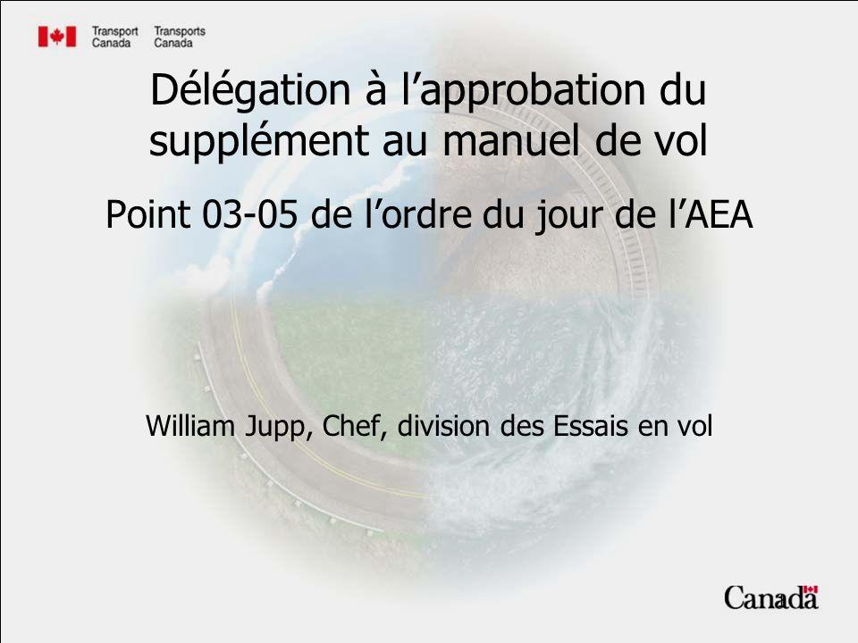 1 Délégation à lapprobation du supplément au manuel de vol Point 03-05 de lordre du jour de lAEA William Jupp, Chef, division des Essais en vol