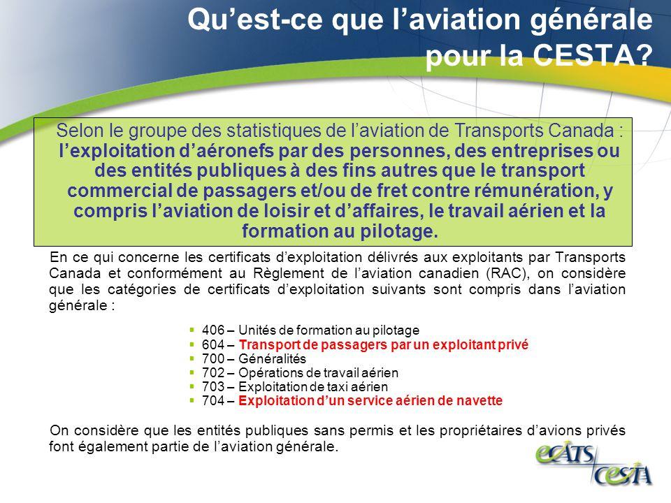 Quest-ce que laviation générale pour la CESTA? En ce qui concerne les certificats dexploitation délivrés aux exploitants par Transports Canada et conf
