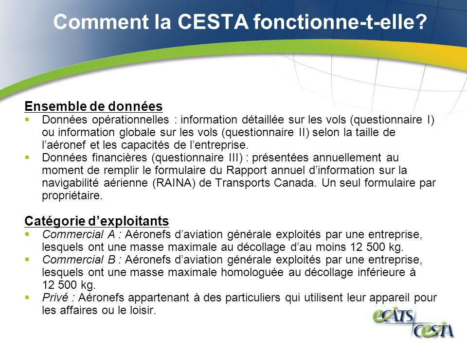 Comment la CESTA fonctionne-t-elle? Ensemble de données Données opérationnelles : information détaillée sur les vols (questionnaire I) ou information