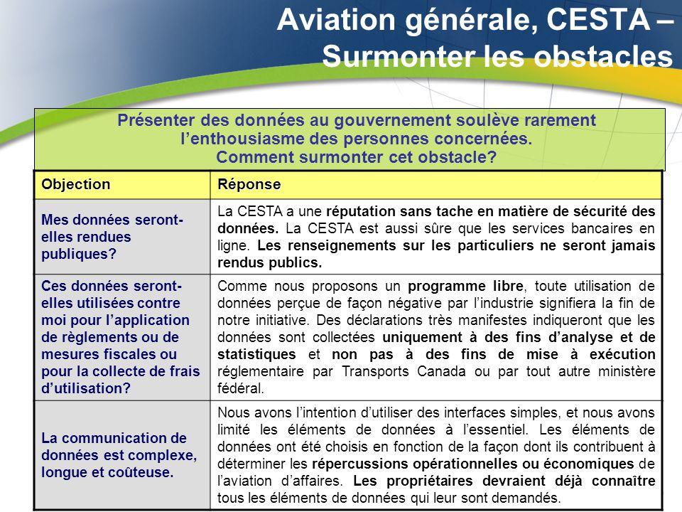 Aviation générale, CESTA – Surmonter les obstacles Présenter des données au gouvernement soulève rarement lenthousiasme des personnes concernées. Comm