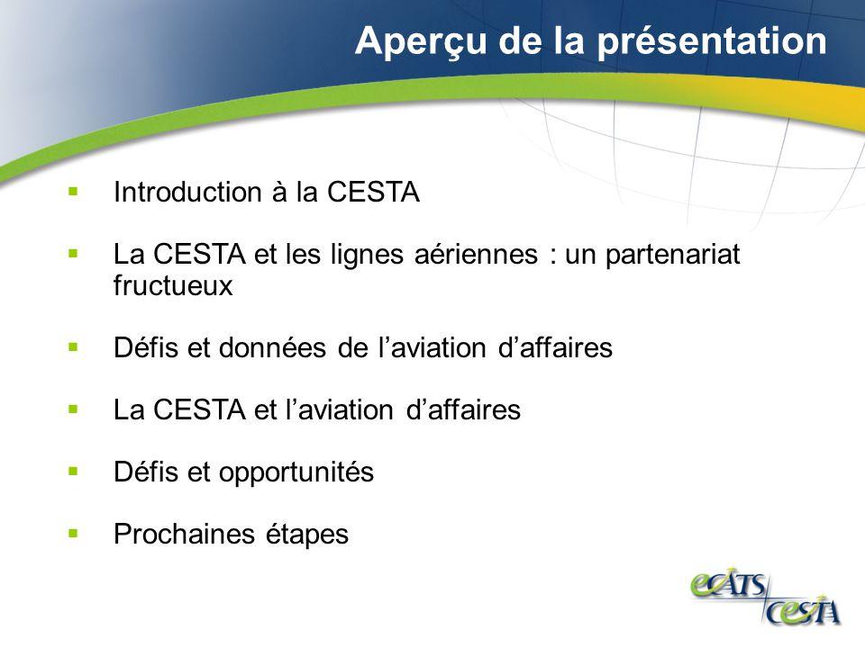 Aperçu de la présentation Introduction à la CESTA La CESTA et les lignes aériennes : un partenariat fructueux Défis et données de laviation daffaires