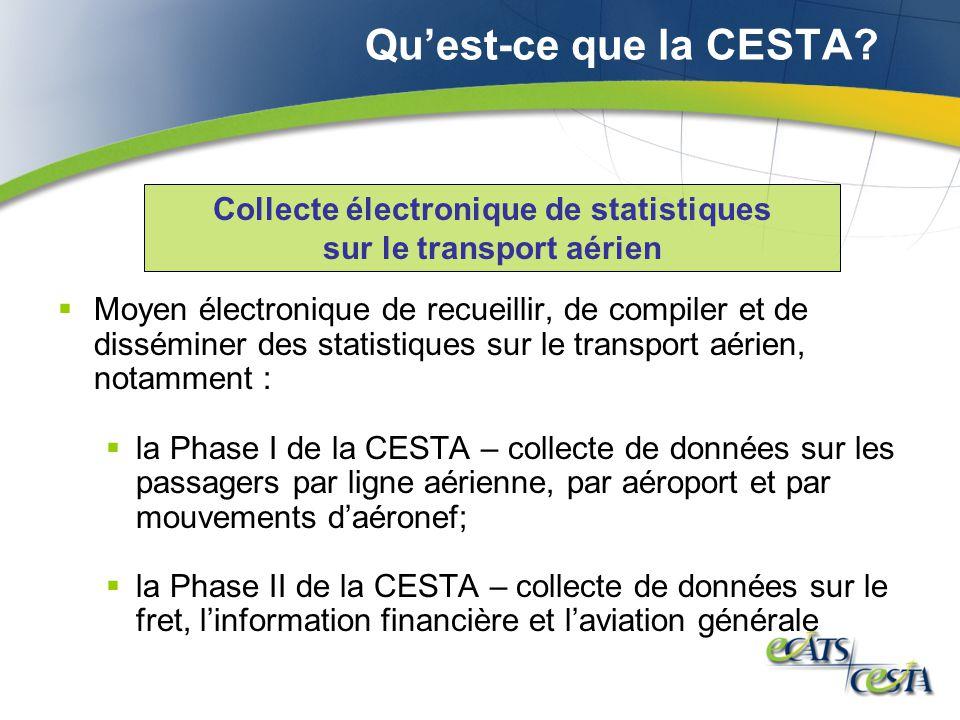 Quest-ce que la CESTA? Moyen électronique de recueillir, de compiler et de disséminer des statistiques sur le transport aérien, notamment : la Phase I