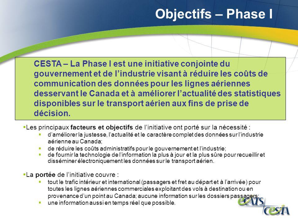 Objectifs – Phase I Les principaux facteurs et objectifs de linitiative ont porté sur la nécessité : daméliorer la justesse, lactualité et le caractèr
