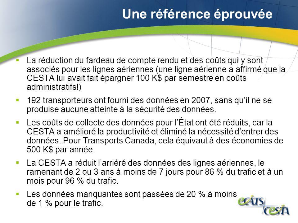 Une référence éprouvée La réduction du fardeau de compte rendu et des coûts qui y sont associés pour les lignes aériennes (une ligne aérienne a affirm