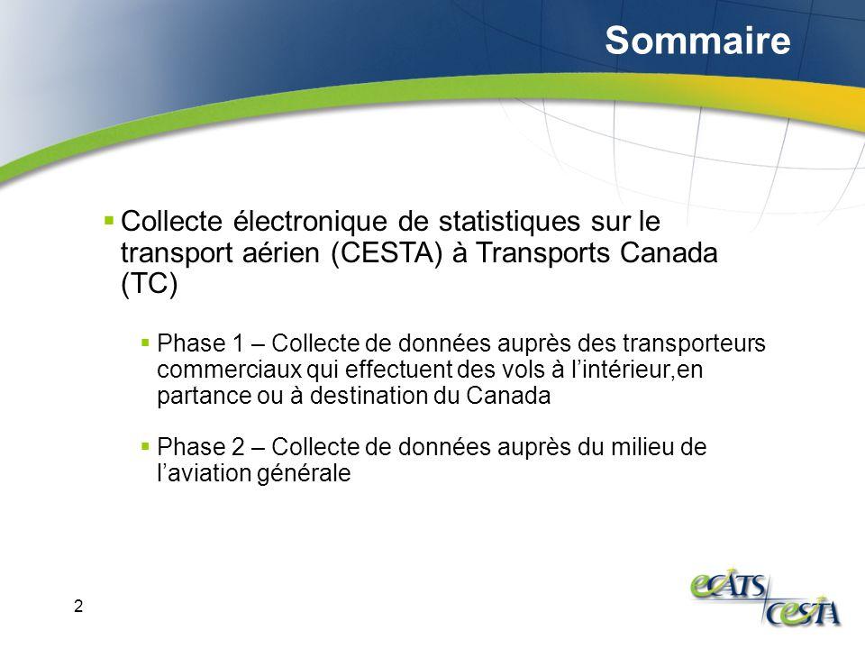 2 Collecte électronique de statistiques sur le transport aérien (CESTA) à Transports Canada (TC) Phase 1 – Collecte de données auprès des transporteurs commerciaux qui effectuent des vols à lintérieur,en partance ou à destination du Canada Phase 2 – Collecte de données auprès du milieu de laviation générale Sommaire