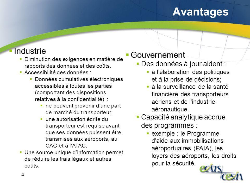 4 Industrie Diminution des exigences en matière de rapports des données et des coûts.