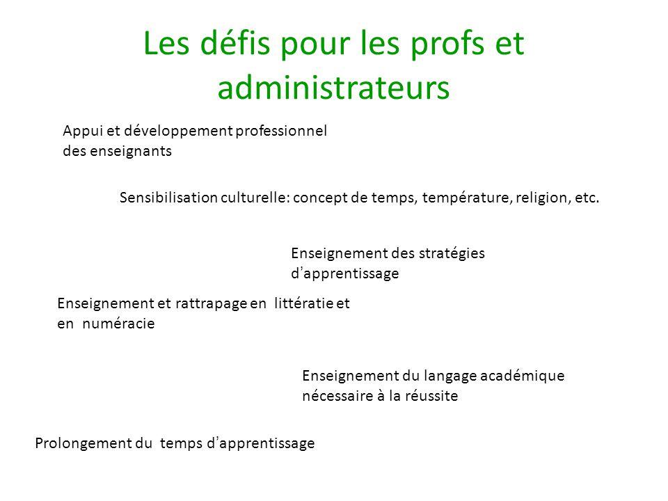 Les défis pour les profs et administrateurs Appui et développement professionnel des enseignants Sensibilisation culturelle: concept de temps, température, religion, etc.