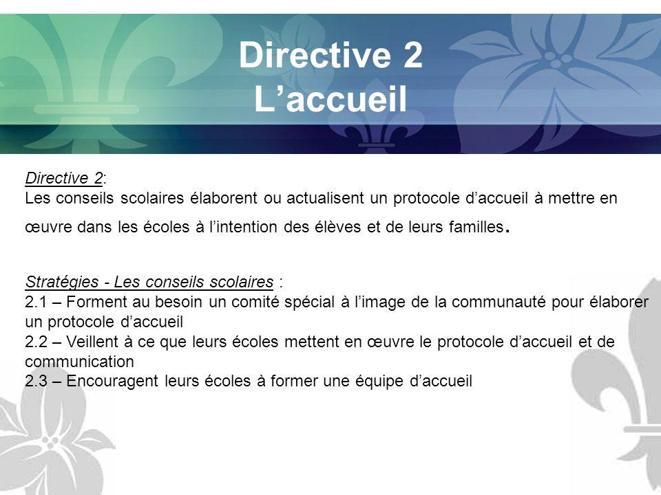 Directive 2 Laccueil Directive 2: Les conseils scolaires élaborent ou actualisent un protocole daccueil à mettre en œuvre dans les écoles à lintention