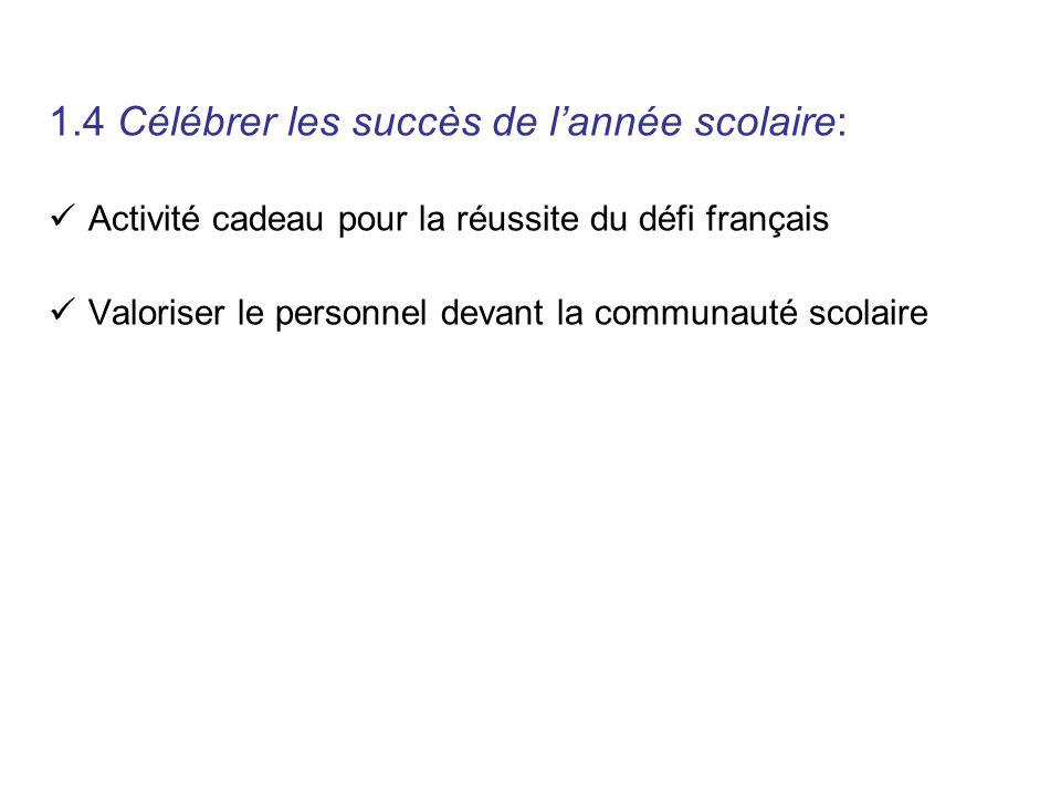 1.4 Célébrer les succès de lannée scolaire: Activité cadeau pour la réussite du défi français Valoriser le personnel devant la communauté scolaire