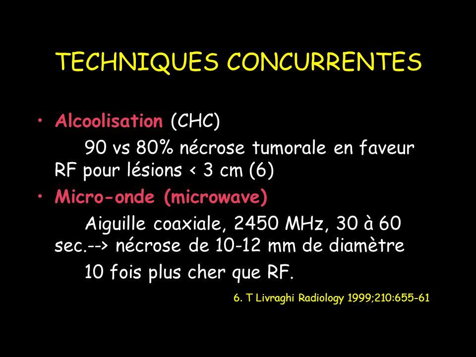 TECHNIQUES CONCURRENTES Alcoolisation (CHC) 90 vs 80% nécrose tumorale en faveur RF pour lésions < 3 cm (6) Micro-onde (microwave) Aiguille coaxiale, 2450 MHz, 30 à 60 sec.--> nécrose de 10-12 mm de diamètre 10 fois plus cher que RF.