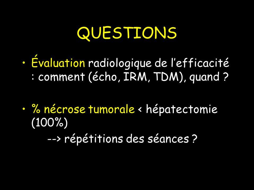 QUESTIONS Évaluation radiologique de lefficacité : comment (écho, IRM, TDM), quand .