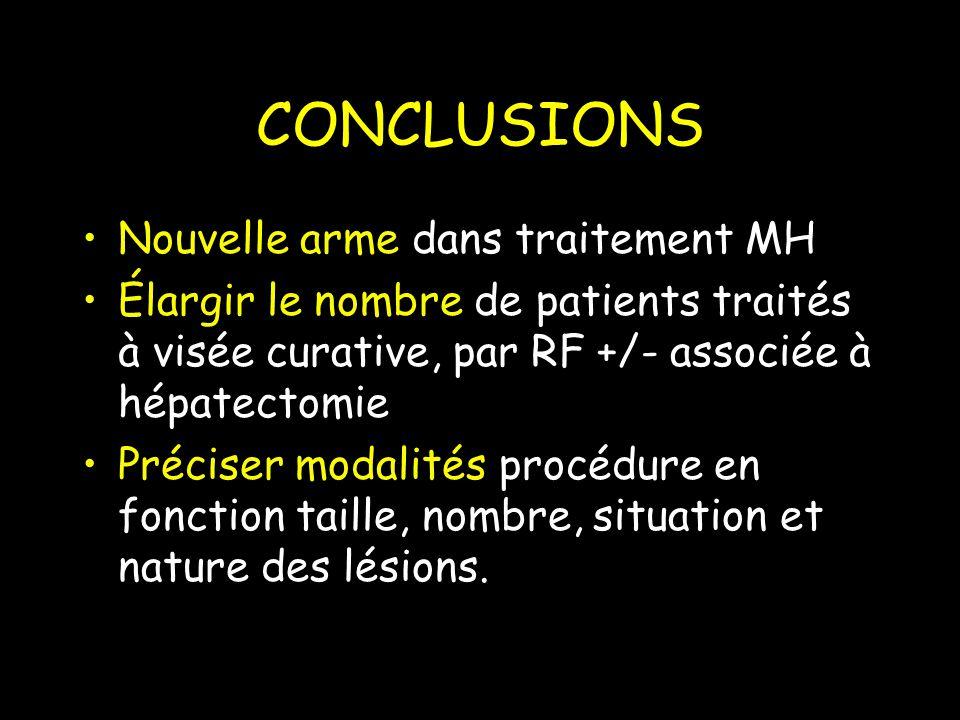 CONCLUSIONS Nouvelle arme dans traitement MH Élargir le nombre de patients traités à visée curative, par RF +/- associée à hépatectomie Préciser modalités procédure en fonction taille, nombre, situation et nature des lésions.