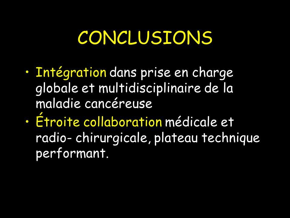 CONCLUSIONS Intégration dans prise en charge globale et multidisciplinaire de la maladie cancéreuse Étroite collaboration médicale et radio- chirurgicale, plateau technique performant.