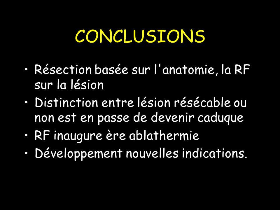 CONCLUSIONS Résection basée sur l anatomie, la RF sur la lésion Distinction entre lésion résécable ou non est en passe de devenir caduque RF inaugure ère ablathermie Développement nouvelles indications.
