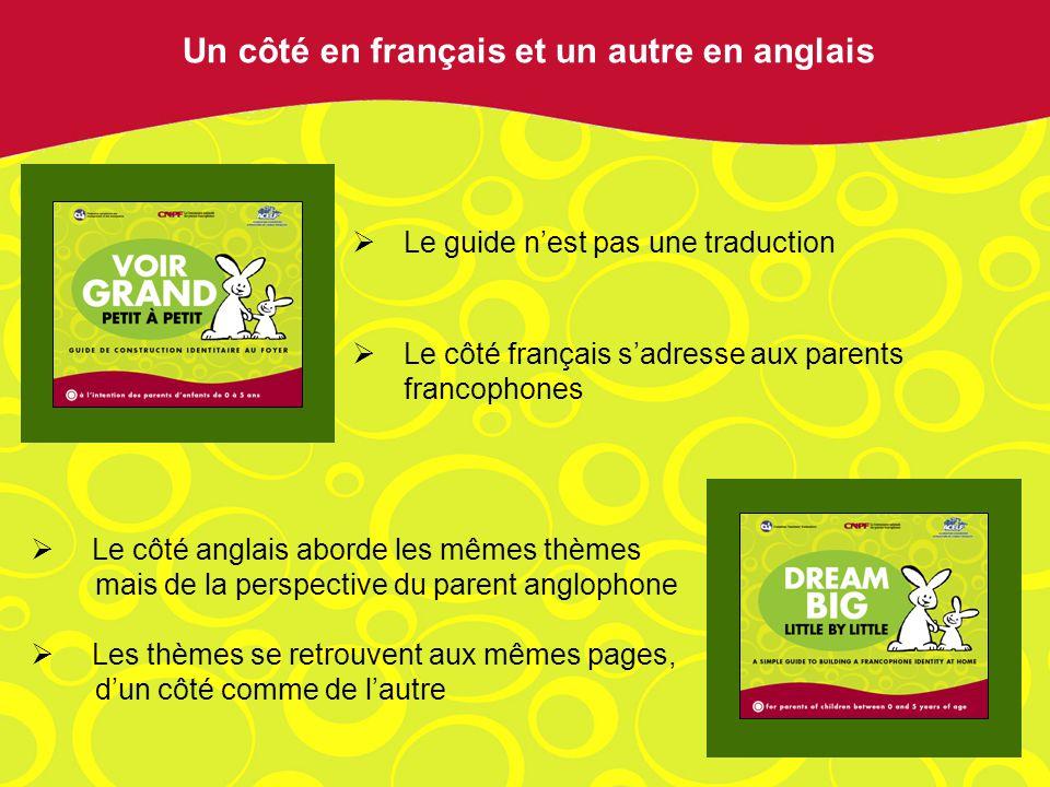 Le guide nest pas une traduction Le côté français sadresse aux parents francophones Un côté en français et un autre en anglais Le côté anglais aborde