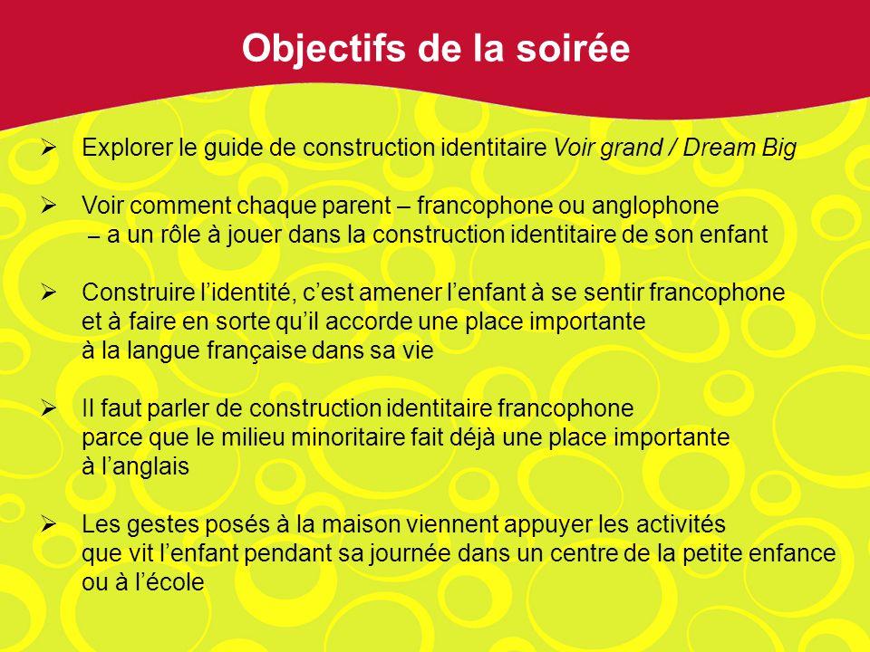 Explorer le guide de construction identitaire Voir grand / Dream Big Voir comment chaque parent – francophone ou anglophone – a un rôle à jouer dans l