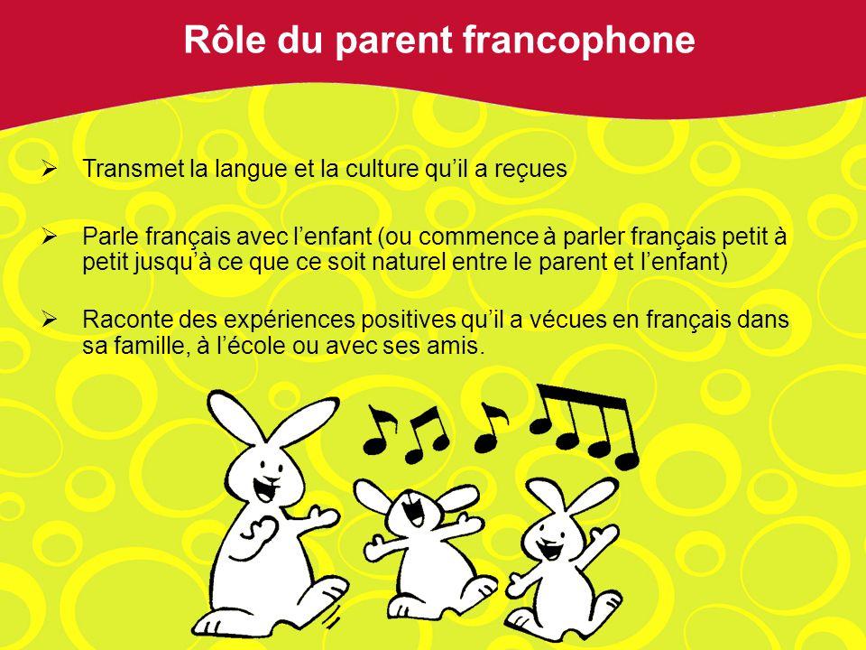 Transmet la langue et la culture quil a reçues Parle français avec lenfant (ou commence à parler français petit à petit jusquà ce que ce soit naturel