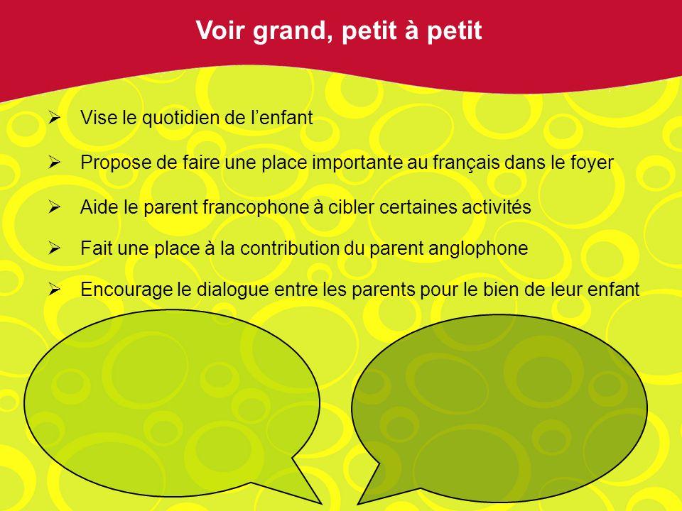 Vise le quotidien de lenfant Propose de faire une place importante au français dans le foyer Aide le parent francophone à cibler certaines activités Fait une place à la contribution du parent anglophone Encourage le dialogue entre les parents pour le bien de leur enfant Voir grand, petit à petit